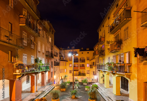 Foto Murales Old Town Houses in Nice City at Night