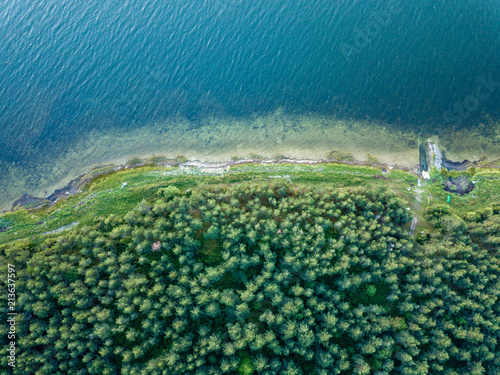 Foto Murales drone image. aerial view shore line in Baltic sea, Hiiumaa, Estonia
