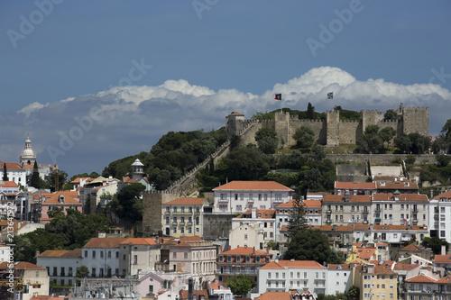 Lisbon cityscape with castle - 213641972