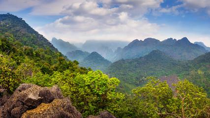Beautiful landscape of mountains in Vang vieng, Laos. © tawatchai1990