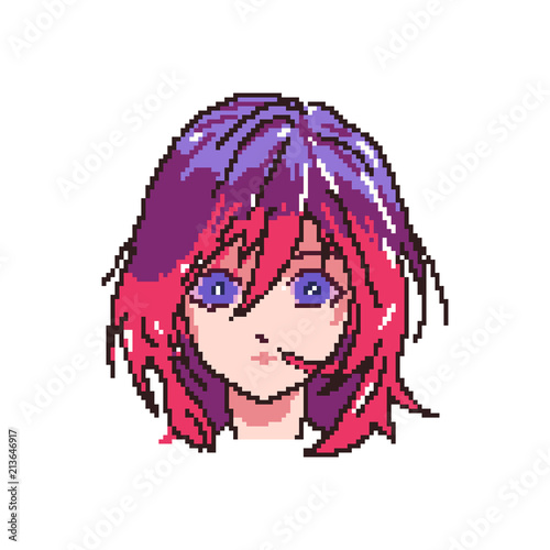 vector pixel art girl anime,cartoon - 213646917
