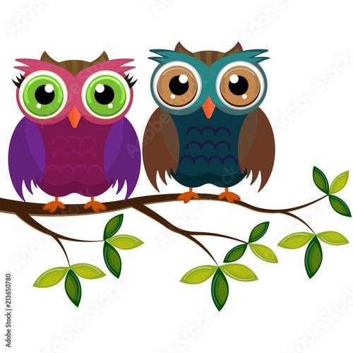 Fotobehang Uilen cartoon two colorful owls on a branch