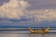 Quadro Totora made boat in lake Titicaca, Bolivia