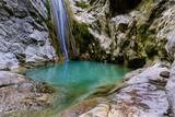 The waterfall of Nidri in Lefkada island with natural azure water pool. Greece