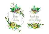 Set with illustration of Green Helleborus and leaves. Round frame and small bouquets for decoration and your design. Markers' and watercolor's art. - 213655726
