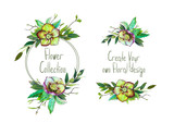 Set with illustration of Green Helleborus and leaves. Round frame and small bouquets for decoration and your design. Markers' and watercolor's art. - 213655753