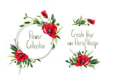 Set with illustration of red poppies' flowers. Round frame and small bouquets for decoration and your design. Markers' and watercolor's art. - 213655784