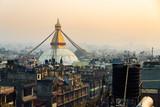 Boudhanath stupa at sunset, in Kathmandu, Nepal - 213657904