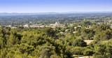 View of Saint Remy from the Roman city of Glanum. Saint Remy de Provence, Bouches du Rhone, Provence, France