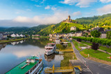 Cochem and Mosel River in Germany around sunrise - 213661590