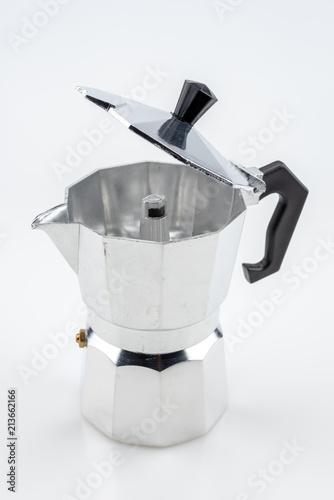 Mokapot coffee pot isolated on white background