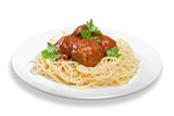 seving of spaghetti with meatballs - 213665746