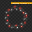 Garlands isolated vector wreath frame round. Christmas decorations lights effects. Glowing lights for Xmas Holiday.