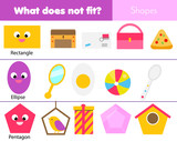 Educational children game. Logic game. What does not fit type. learning geometric shapes for kids and toddlers. - 213679717