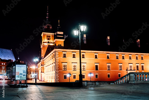 tourist area of the old town in night Warshawa