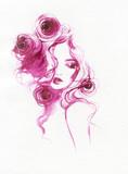 beautiful woman. fashion illustration. watercolor painting - 213698574