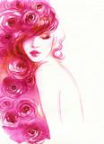 beautiful woman. fashion illustration. watercolor painting - 213698720