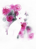 beautiful woman. fashion illustration. watercolor painting - 213698754