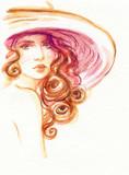 beautiful woman. fashion illustration. watercolor painting - 213699764