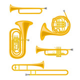 Vector illustration set of brass musical instruments in cartoon style isolated on white background - 213701565