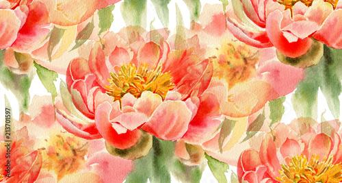 Bezszwowy wzór z akwarela kwiatami
