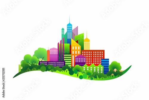 Fototapeta colorful eco town