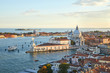 Santa Maria della Salute church aerial view in Venice with punta della Dogana before sunset, Italy