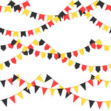 Set of garland with celebration flags chain, black, yellow, yellow pennons with no background, footer and banner for celebration - 213706373
