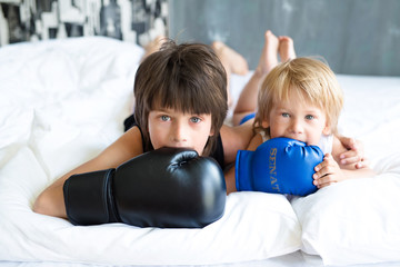 Two cute brothers play and frolic at home. Boxing. Amazing emotions