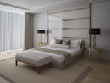 A fashionable bedroom with a large comfortable bed and a fashionable light background. - 213711176
