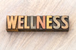 Quadro wellness word abstract in vintage wood type