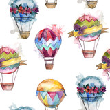 Hot air balloon background fly air transport illustration. Seamless background pattern. Fabric wallpaper print texture. - 213712788