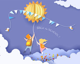 Back to school 1 september card with kids, leaves and sun on blue sky background. Vector illustration. Paper cut and craft style. - 213715909