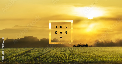 Canvas Toscane Landscape at Tuscany sunset with typographic text and decorative borders