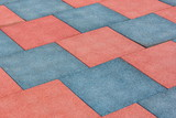 Tile of rubber crumbs on the playground. Square shape - 213727774