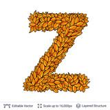 Letter Z sign of autumn leaves. - 213732748