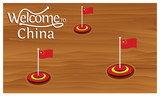 Welcome to China poster with China flag,  time to travel China. vector illustration isolated