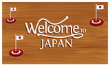 Welcome to Japan poster with Japan flag,  time to travel Japan. vector illustration isolated