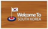 Welcome to South Korea poster with South Korea flag,  time to travel South Korea. vector illustration isolated