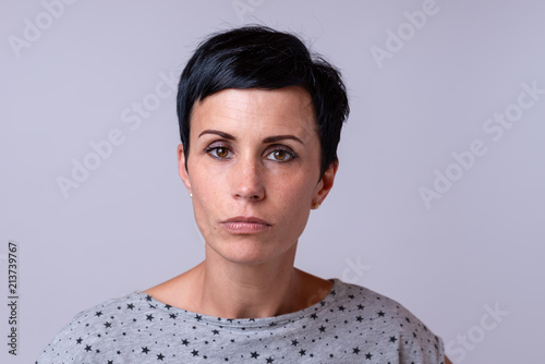 Fotobehang Spa Attractive trendy woman with short dark hair