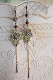 Oriental metal earrings with labradorite stone - 213743308