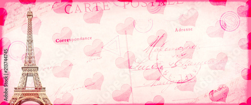 Grunge Valentine vintage backgroun with Eiffel tower - 213744745