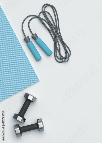 Poster Fitness mat, dumbbells and jumping rope on the floor