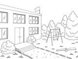 Preschool building exterior graphic black white sketch illustration vector - 213746993