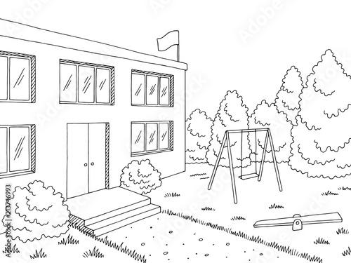 Preschool building exterior graphic black white sketch illustration vector