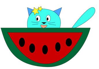 cat blue with watermelon © Sakura