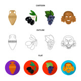 Greece, olive, branch, vase .Greece set collection icons in cartoon,outline,flat style vector symbol stock illustration web.