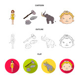 Weapon, hammer, elephant, mammoth .Stone age set collection icons in cartoon,outline,flat style vector symbol stock illustration web. - 213748352