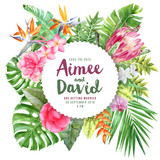 Wedding invitation on round paper emblem over tropical leaves and flowers - 213752143