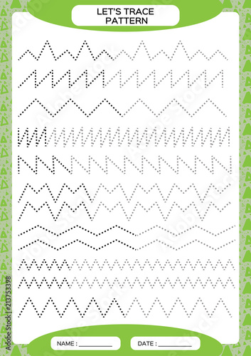 Tracing Lines Activity For Early Years. Special for preschool kids. Worksheet for practicing fine motor skills Tracing dashed lines. Improving skills tasks. Complete the pattern. Green A4